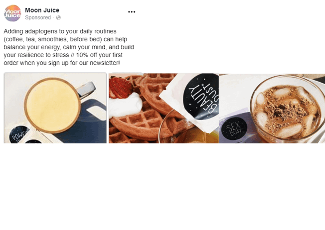 carousel ad moon juice facebook