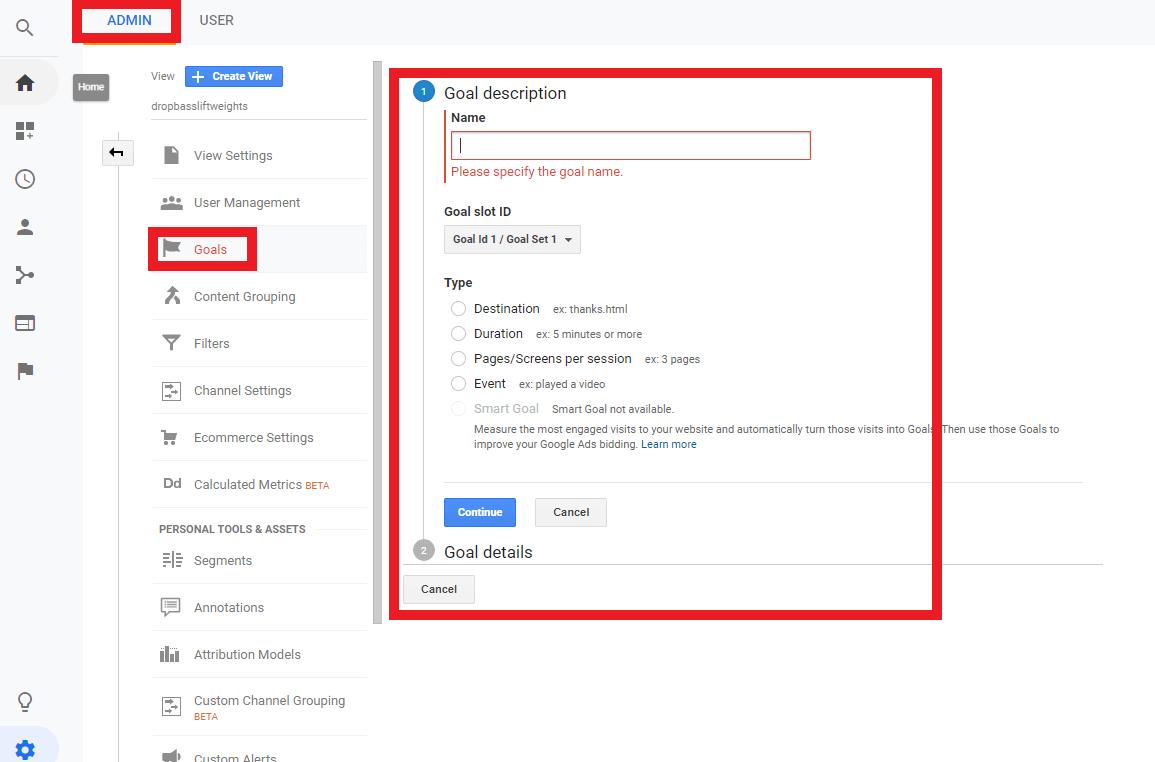 google analytics goal tracking ecommerce