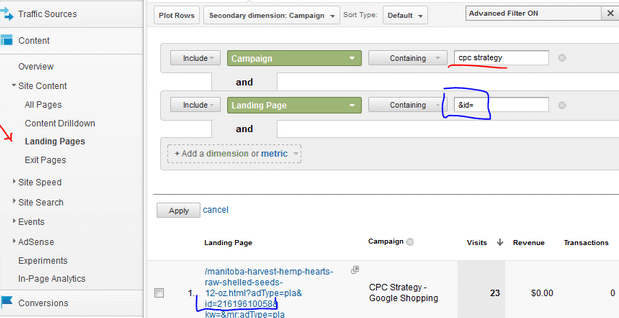 Tracking Google Adwords Product Targets