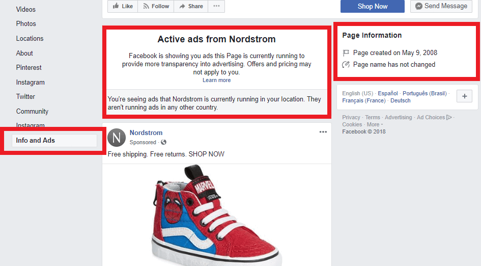 ads and info section facebook