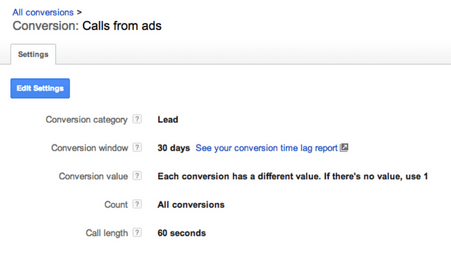 AdWords mobile conversion for click-to-call