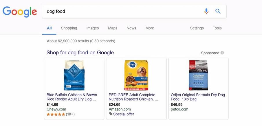 amazon dog food google shopping listing
