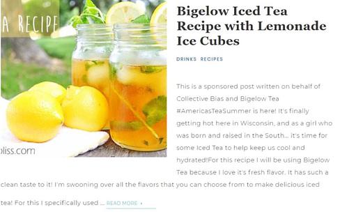 bigelow tea blog recipe influencer marketing cpc strategy