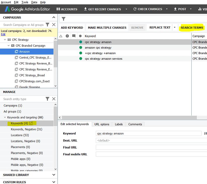 adwords editor 12.3 search term report 1