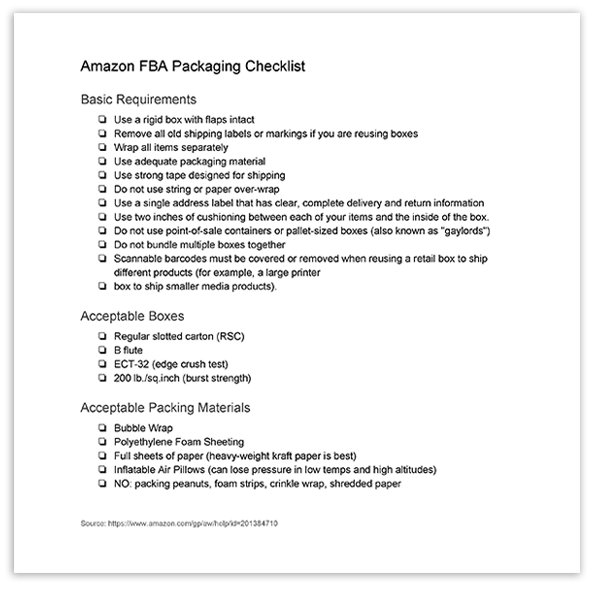 Amazon FBA Packaging Checklist