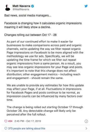 facebook page impressions tweet