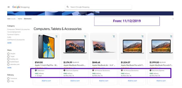 google shopping shipping