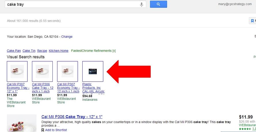 Product Listing Ads Example on Google Shopping comparison page