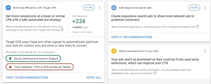 google ads recommendations details estimates