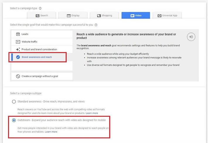 google adwords campaign create outstream ads