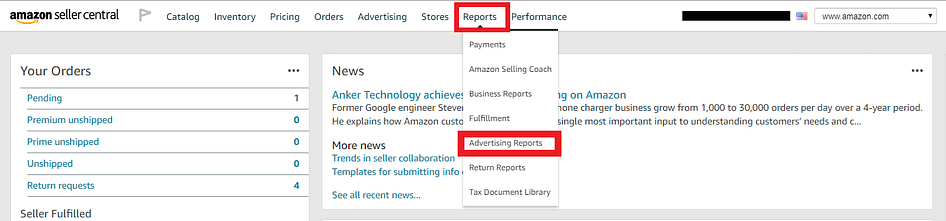 example of downloading the amazon search term report