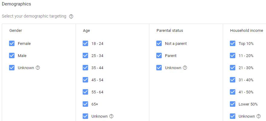 demographics google adwords