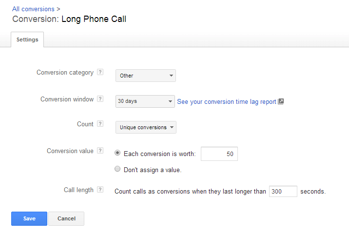 AdWords mobile click to call conversion type