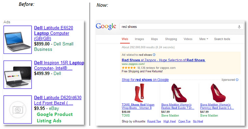 product listing ads what do google shopping ads look like before and after