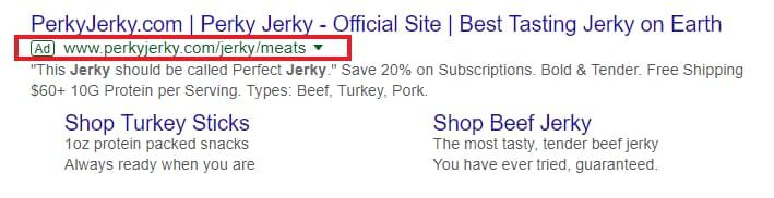 perky jerky search text ad google serp