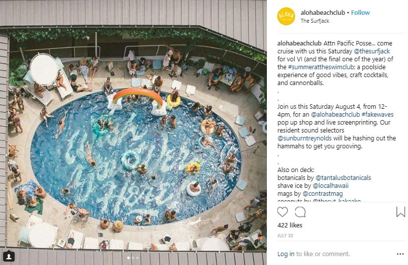 customer engagement instagram marketing aloha beach club