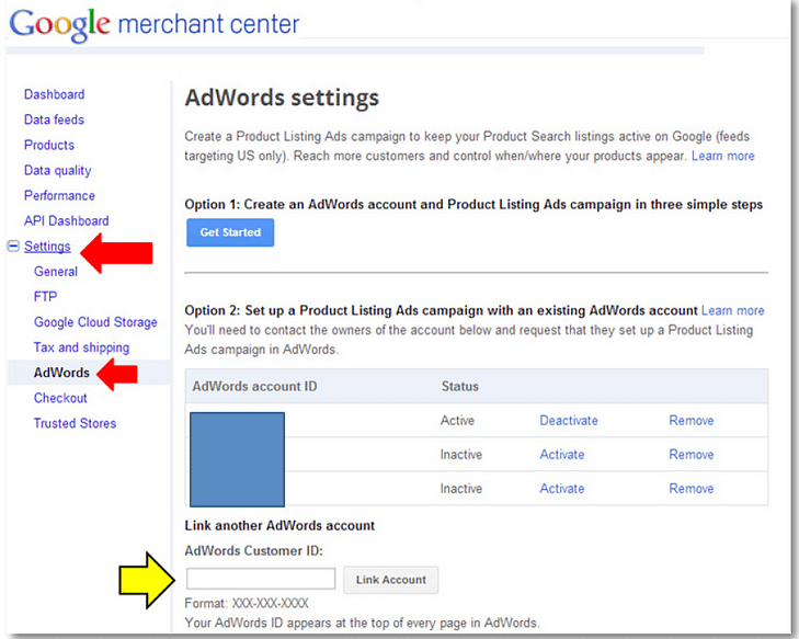 product listing ads product listing ads support adwords link accounts