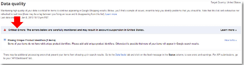 product listing ads google shopping feed check critical error screen