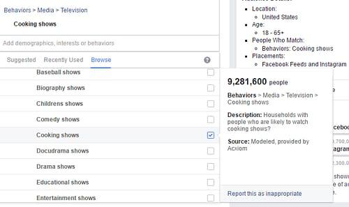 facebook targeting behaviors