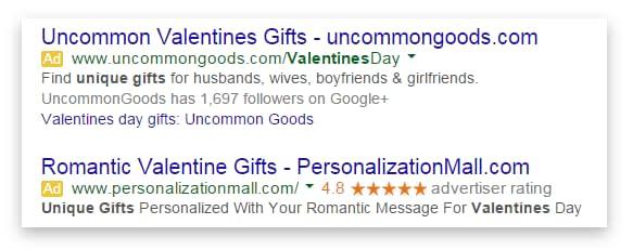 AdWords PPC Valentines ad copy