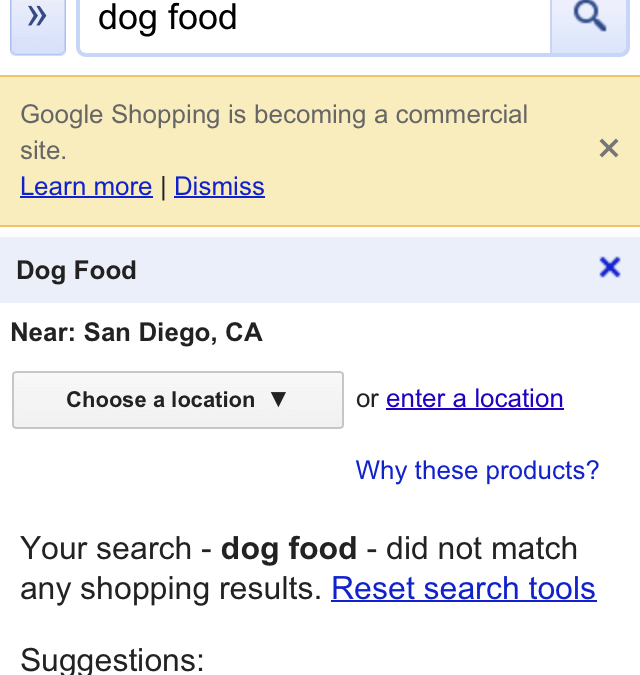 Looking for Dog Food on Google Shopping? You're Out of Luck