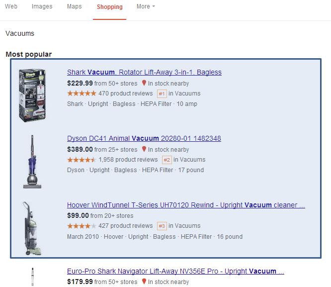Google PLAs in Search Carousel