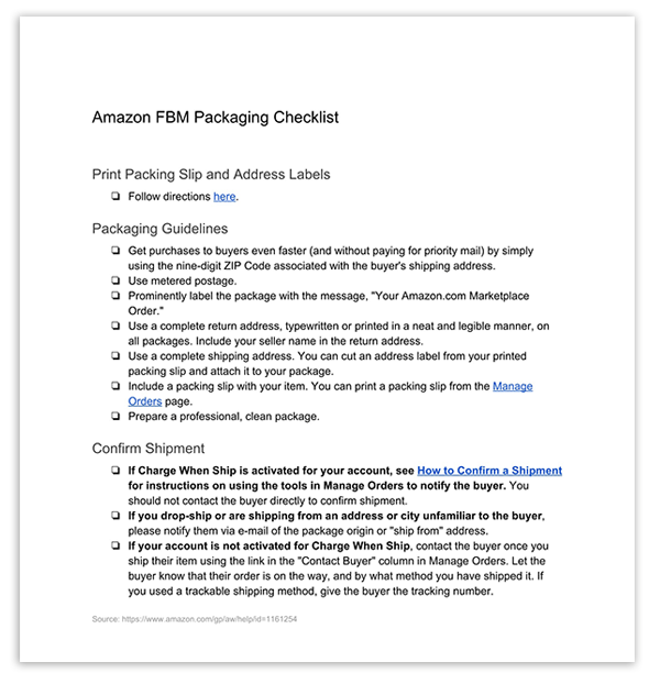 Amazon FBM Packaging Checklist