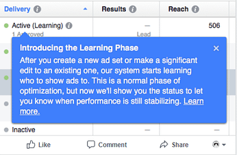 Facebook learning phase