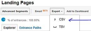 Export Google Analytics report