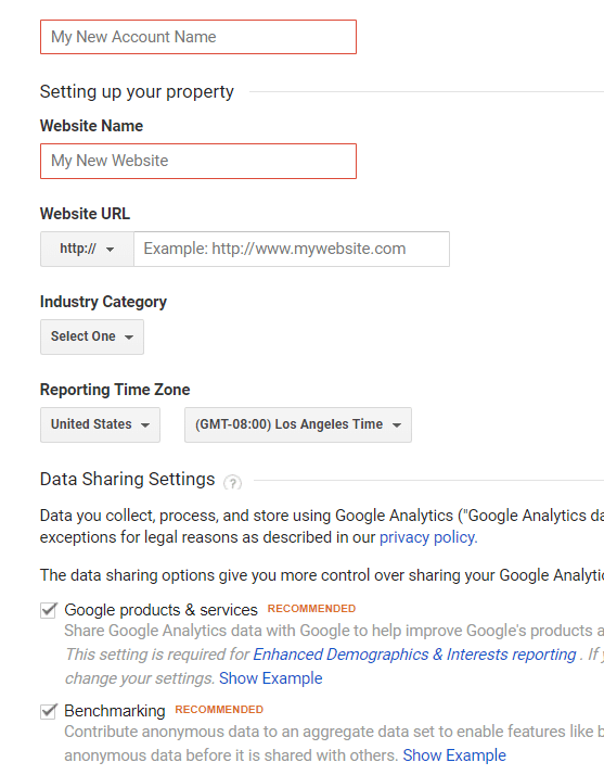 google analytics ecommerce tracking setup new account