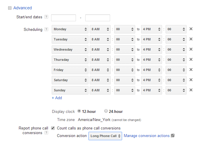 AdWords mobile click-to-call tracking new conversion values