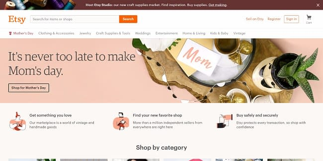 top 10 online marketplaces etsy