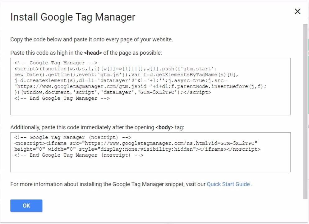 install tag manager on site