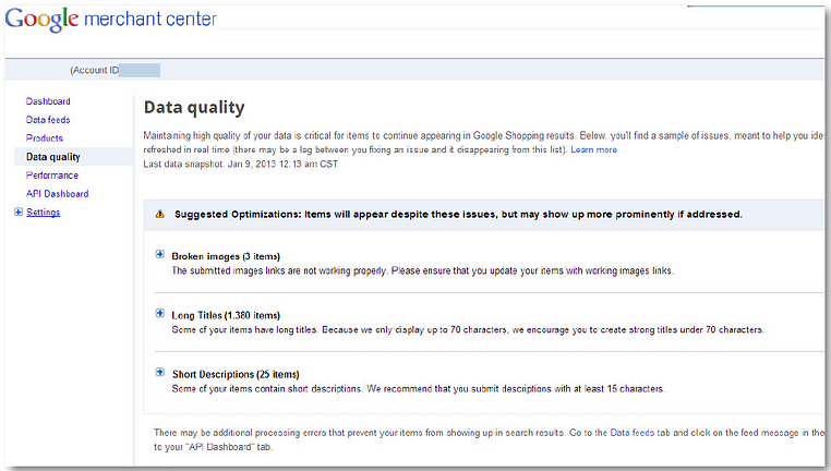 product listing ads google shopping feed check data quality screen