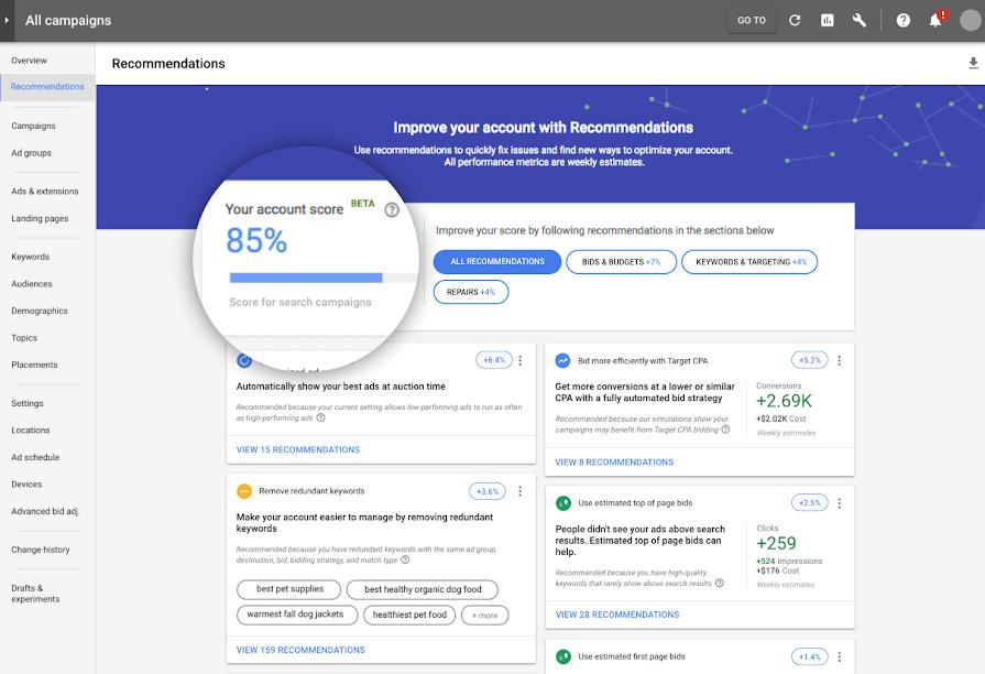 google ads optimization score page example