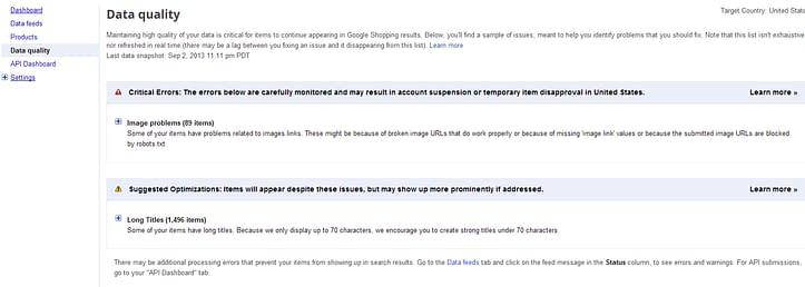 Google merchant center feed errors