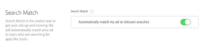 apple search match button asa