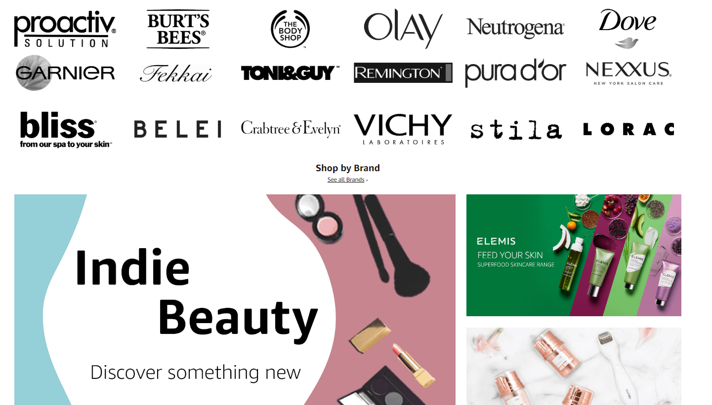amazon beauty featured brands selection