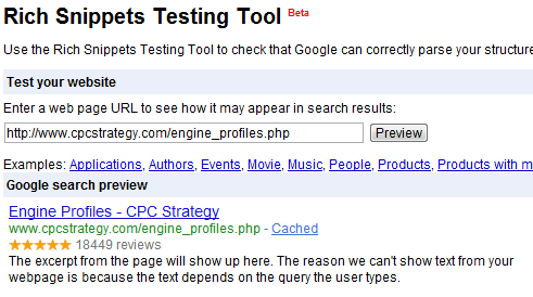 Rich Snippets Testing Tool