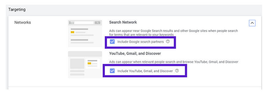 shopping campaigns in gmail and google network settings