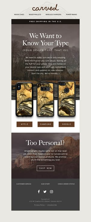 carved email personalization