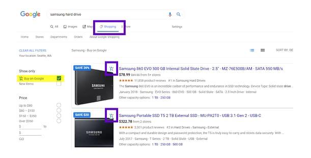 google shopping cart new