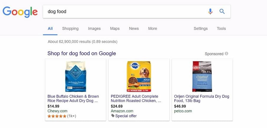 amazon dog food google shopping listing