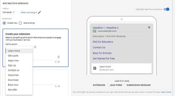 google-ads-lead-form-extension-call-to-action