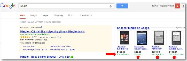product listing ads amazon & google shopping kindle