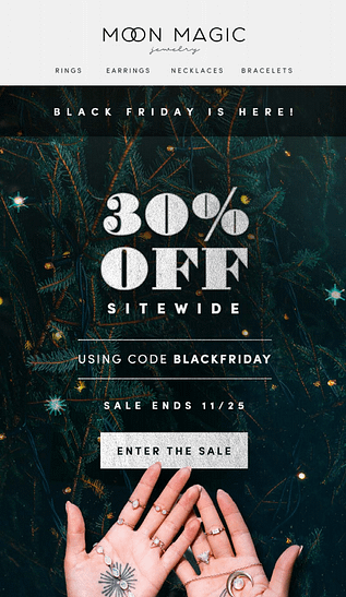 black friday holiday email example