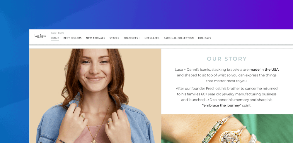 amazon branding example of luca and danni jewelry store on amazon