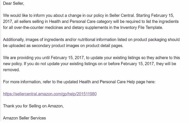 amazon health and personal care category requirements