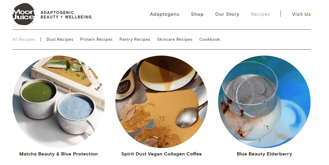 moon juice recipes content on ecommerce website