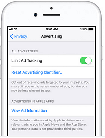 limit ad tracking button on iphone